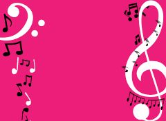 Pink Musical Notes Background