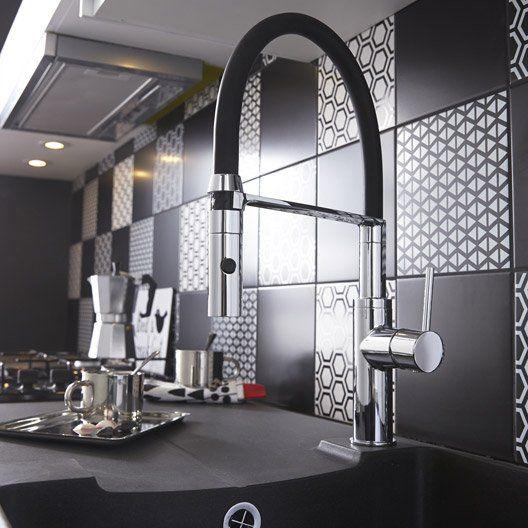 Faïence mur noir, Astuce l20 x L20 cm Rénovation Deco