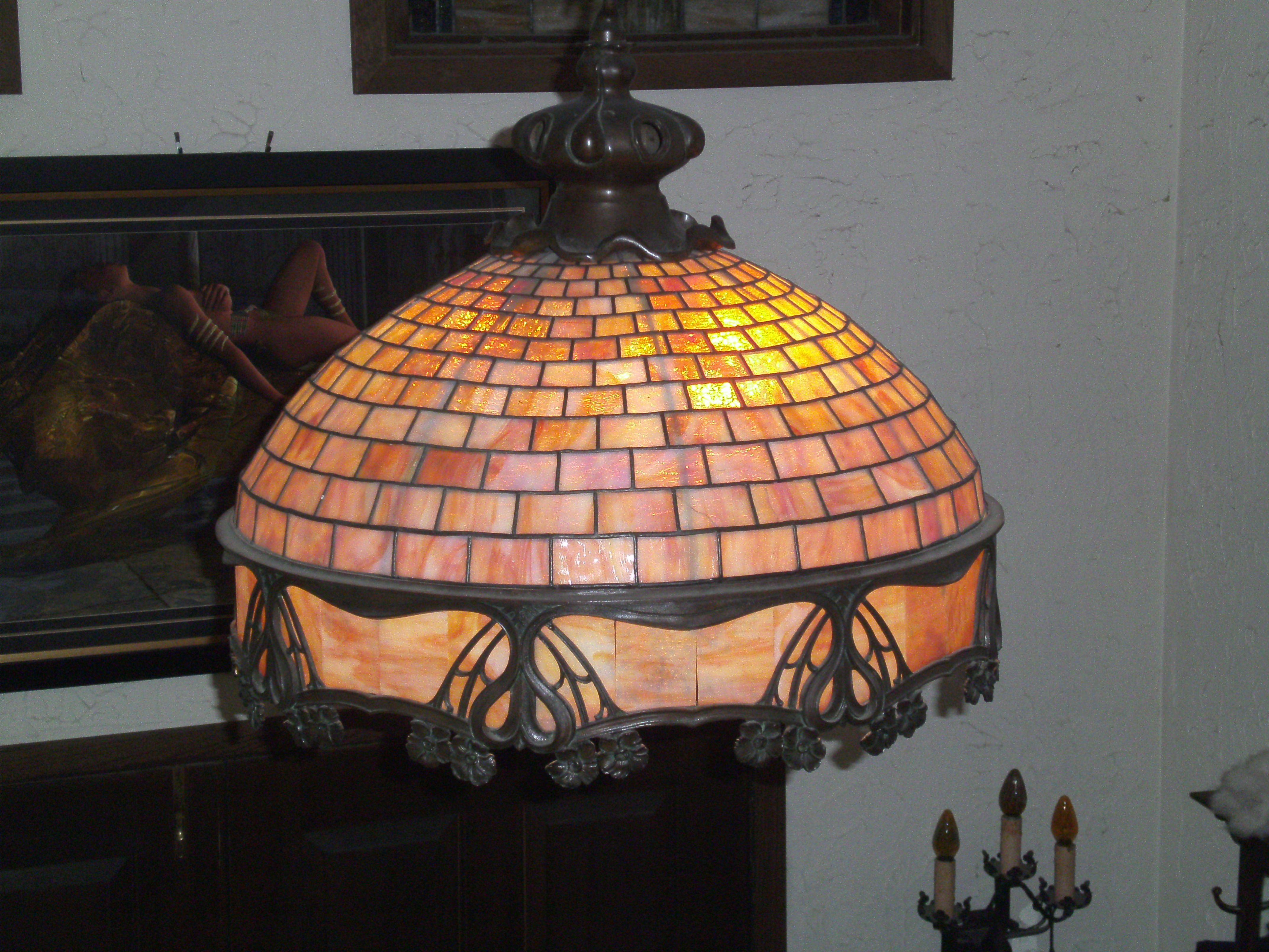 Unidentified Antique Stained Glass Chandelier Stained Glass