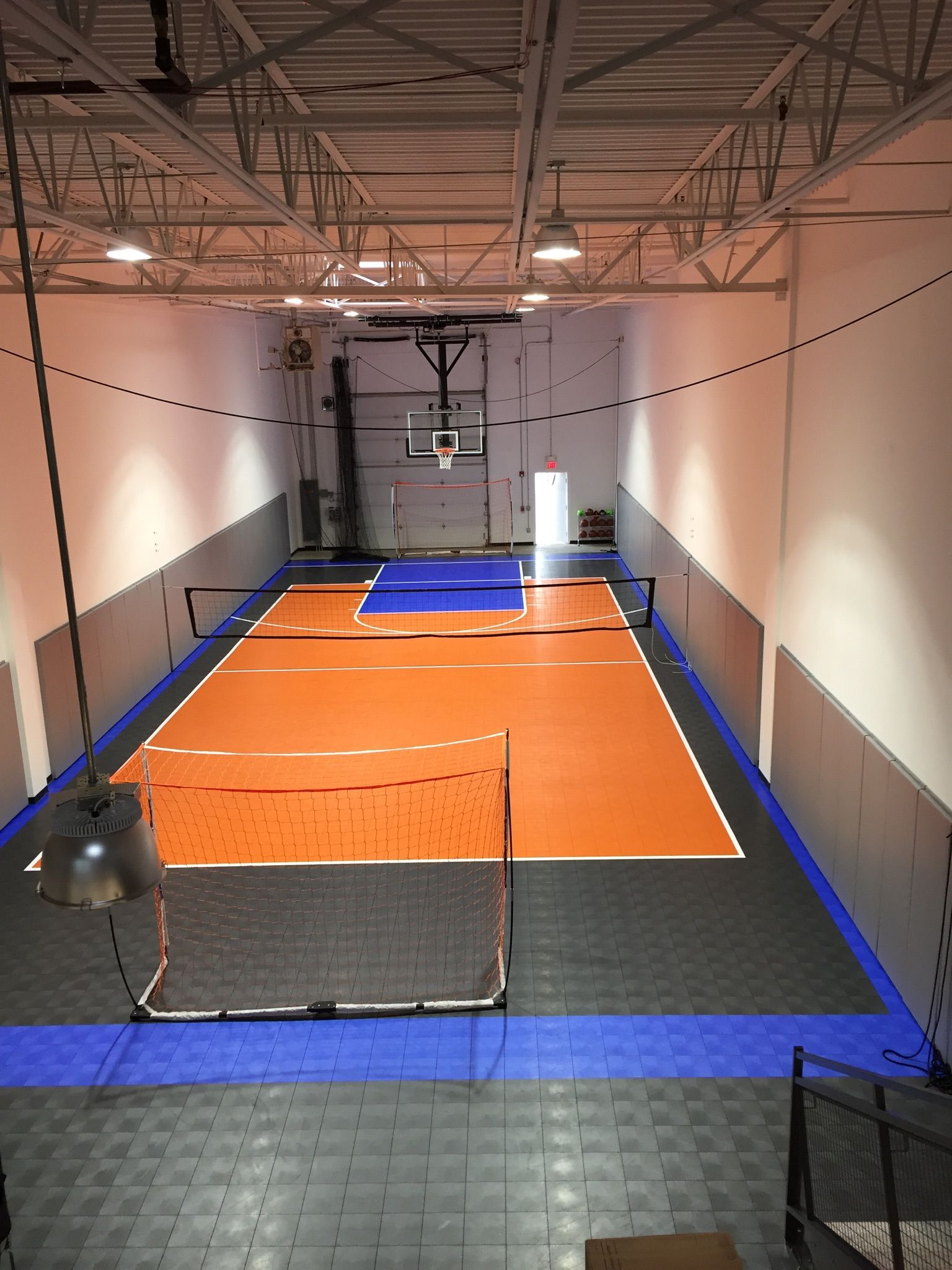 Warehouse Turned Into Indoor Space For A Family And Their Friends Home Basketball Court Home Gym Design Gym Room At Home
