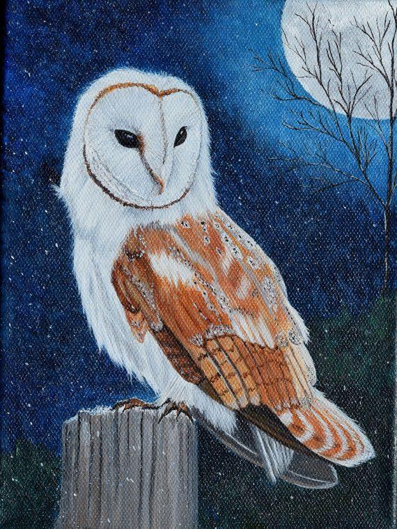 Bird painting barn owl wildlife nature original for Night owl paint color
