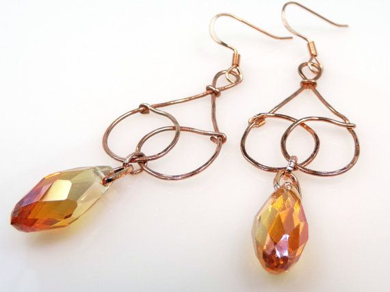 Hammered Copper Earrings with Briolette Crystal by MyCreativeOasis https://www.etsy.com/shop/MyCreativeOasis?ref=l2-shopheader-name