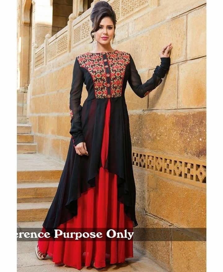fcb0143735 Long kurti skirt dress...beautiful black red combination | Things to ...