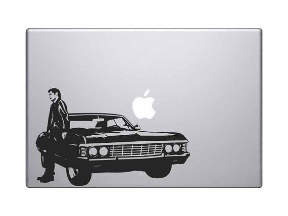 Dean With His Impala From Supernatural Vinyl Decal For Your Car - Vinyl decals for your car