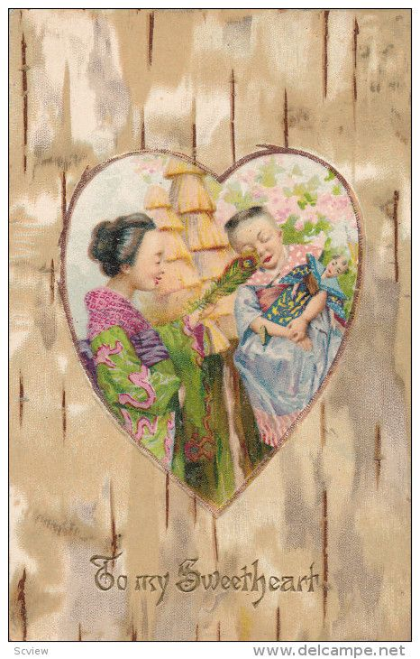 """VALENTINE'S DAY : Oriental woman tickles child with feather , """"To my Sweetheart"""" , Heart border , PU-1906 - Delcampe.com"""