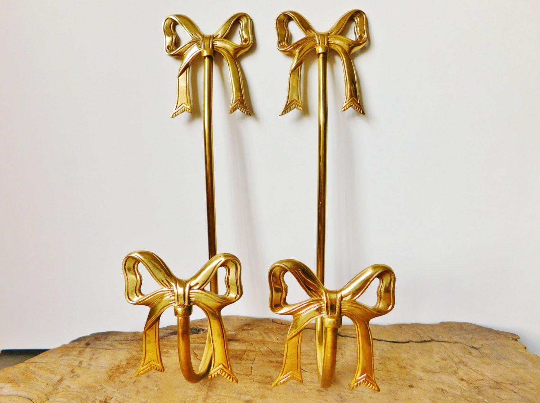Curtain hardware tiebacks - Gold Bow Curtain Tie Backs Shabby Chic Curtain Hardware Brass Curtain Holders
