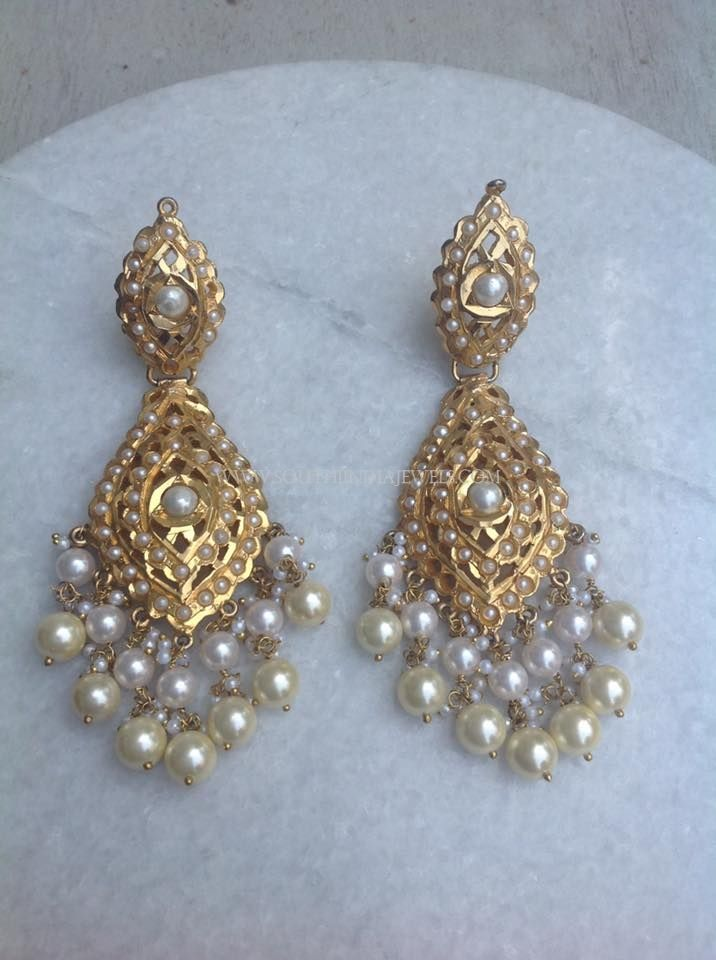 Gold Pearl Dangler Earrings 22k Designs