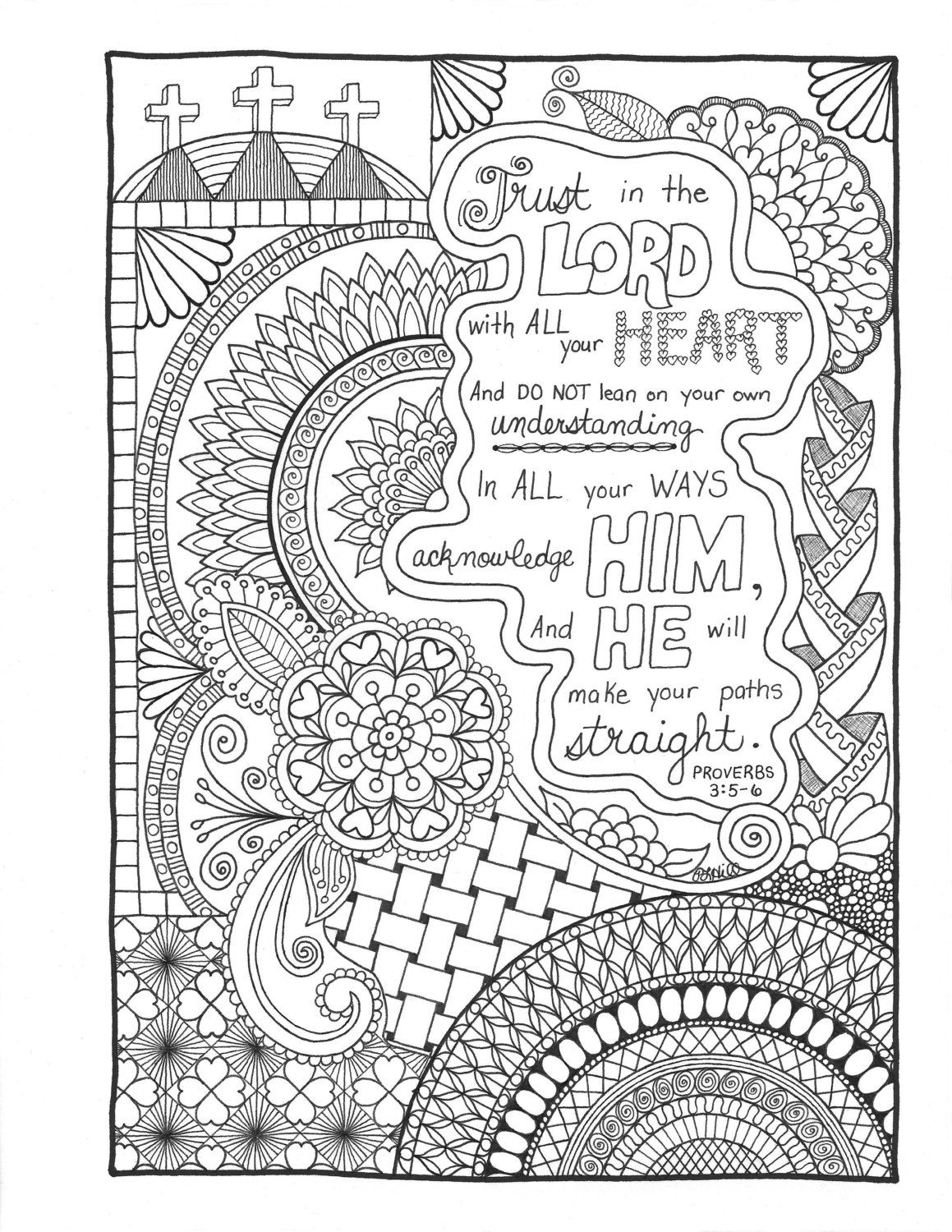 Proverbs3 5 6 Trust In The Lord Bible Verse Coloring Page Bible