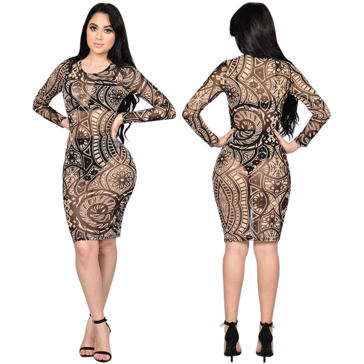 Women bandage bodycon long sleeve evening club party cocktail pencil