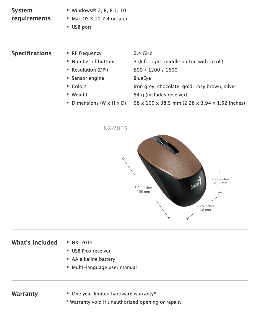 Genius BlueEye Sensor Wireless Mouse NX-7015