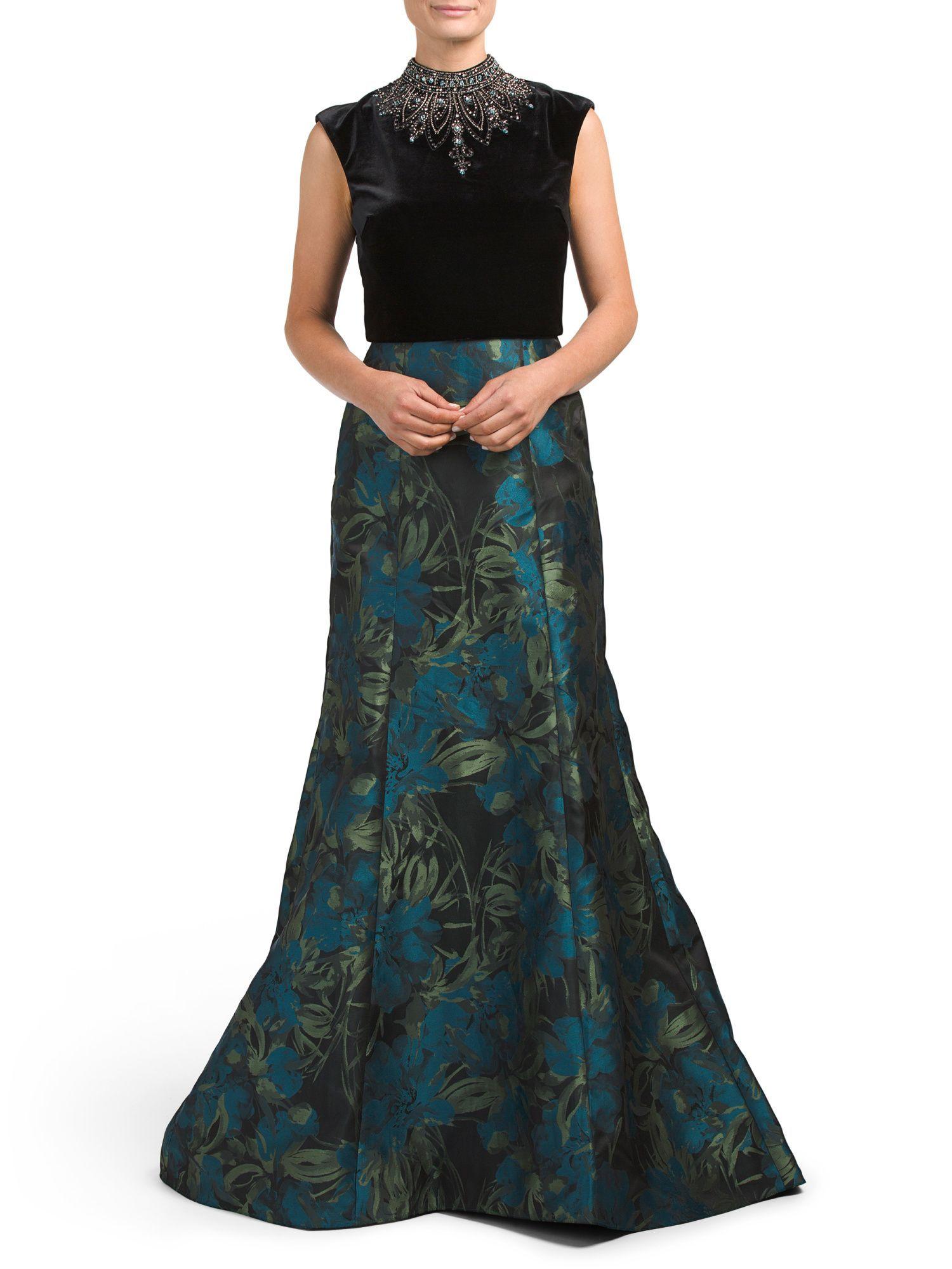 Embellished velvet u brocade skirt gown products pinterest