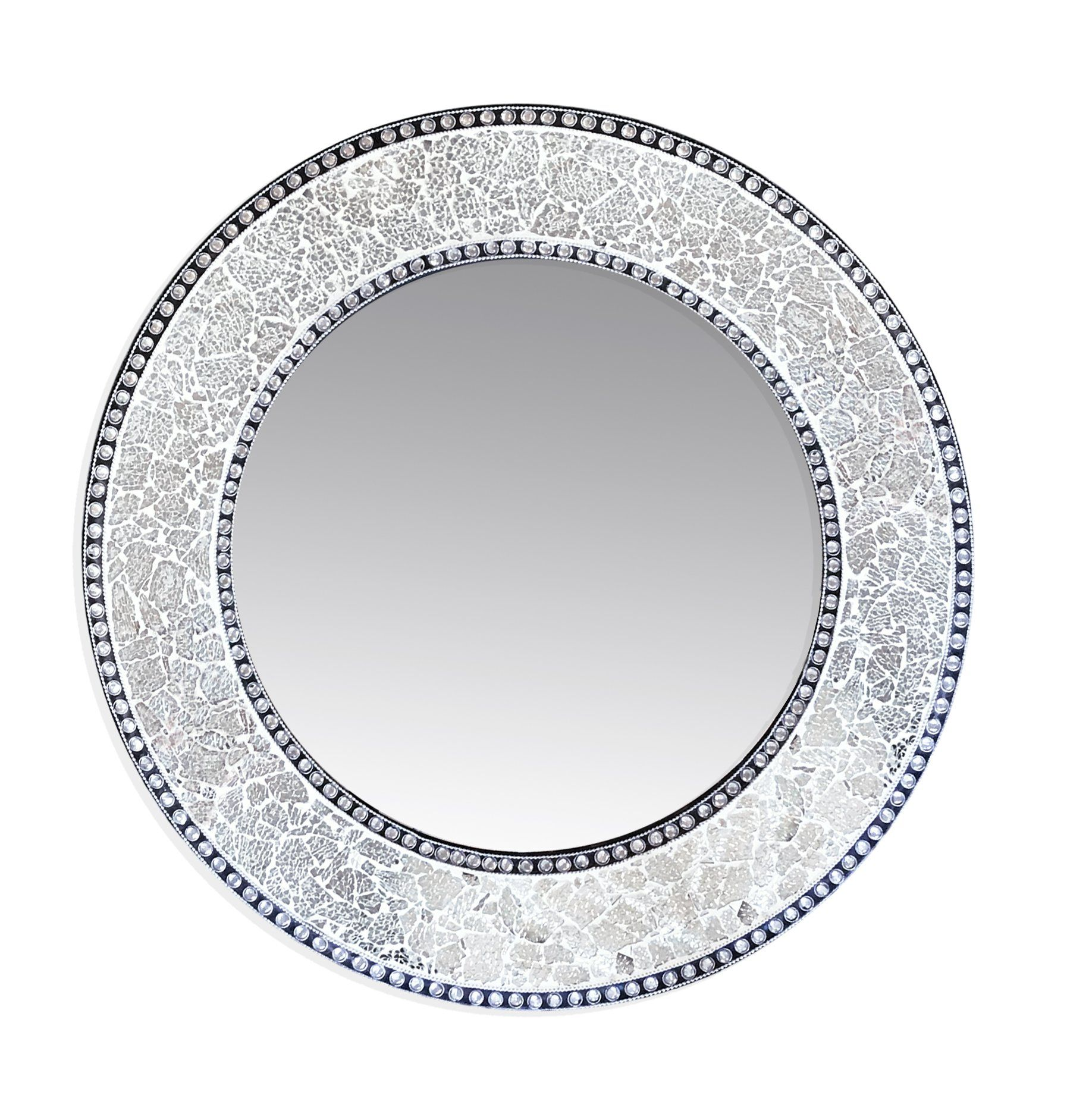 Decorshore 24 Silver Round Wall Mirror Crackled Glass Mosaic Decorative Design By Want To Know More Click On Th Round Wall Mirror Mirror Wall Decor Mirror