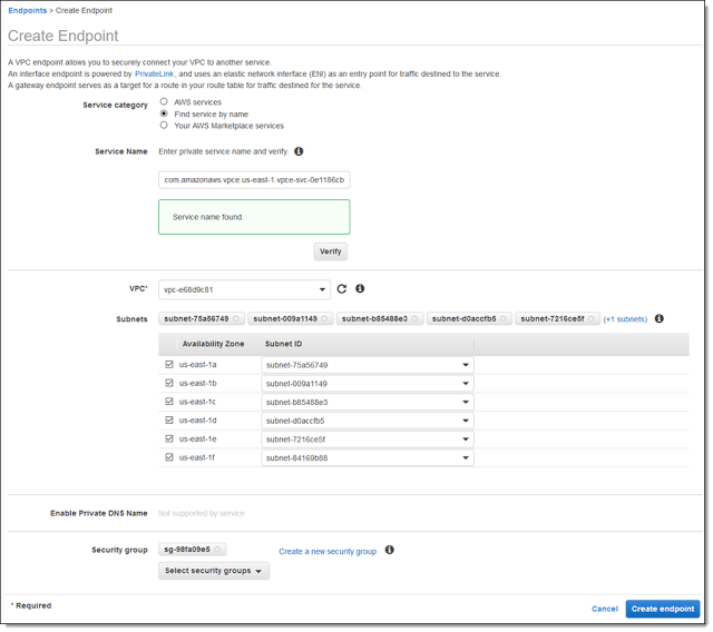 AWS PrivateLink Update – VPC Endpoints for Your Own Applications