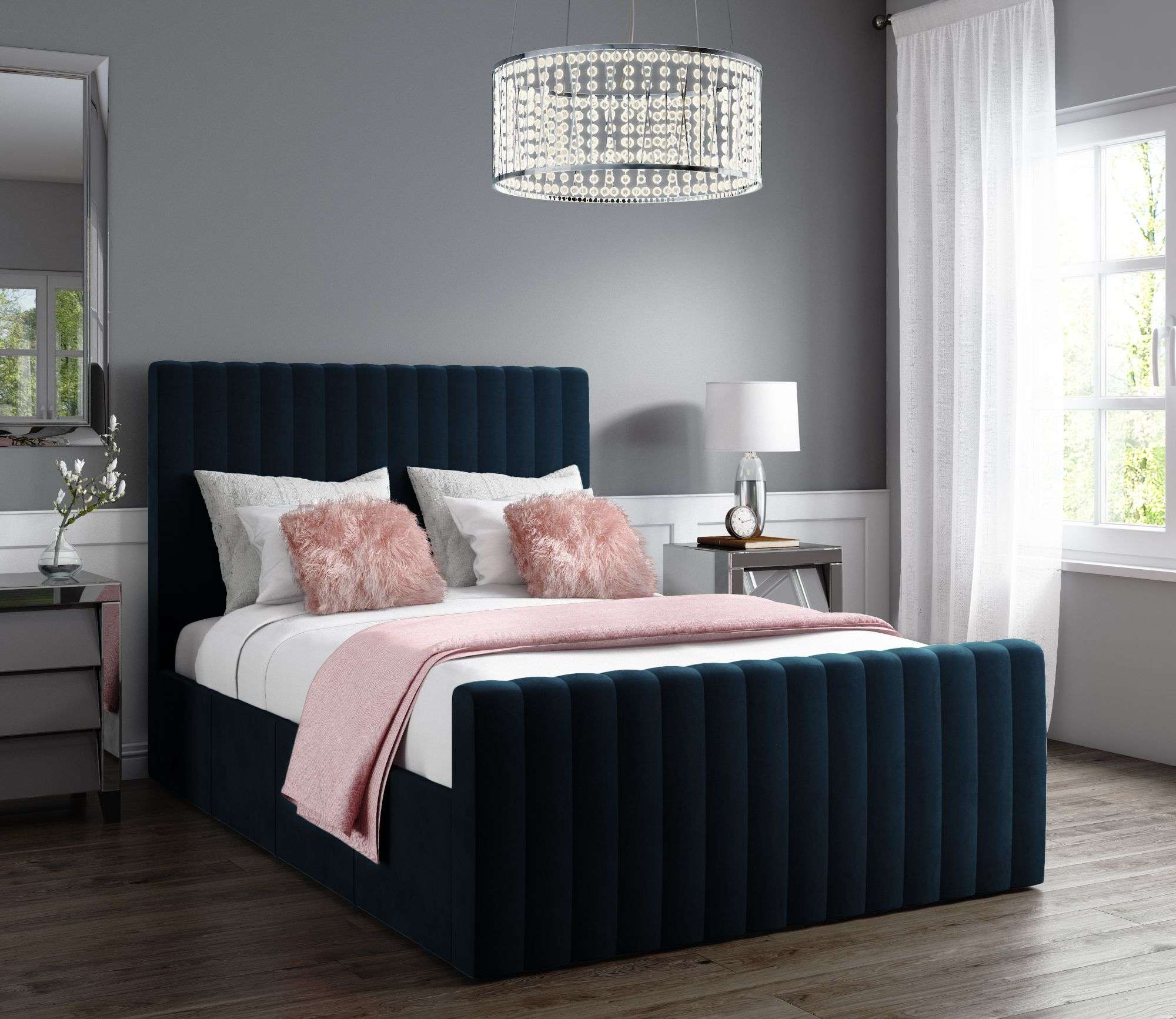 Khloe Double Side Ottoman Bed in Navy Blue Velvet KHL001