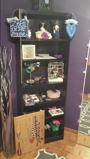 My Vanity Room Used And Old Bookshelf For Jewelry Display Vase Amd Decor From