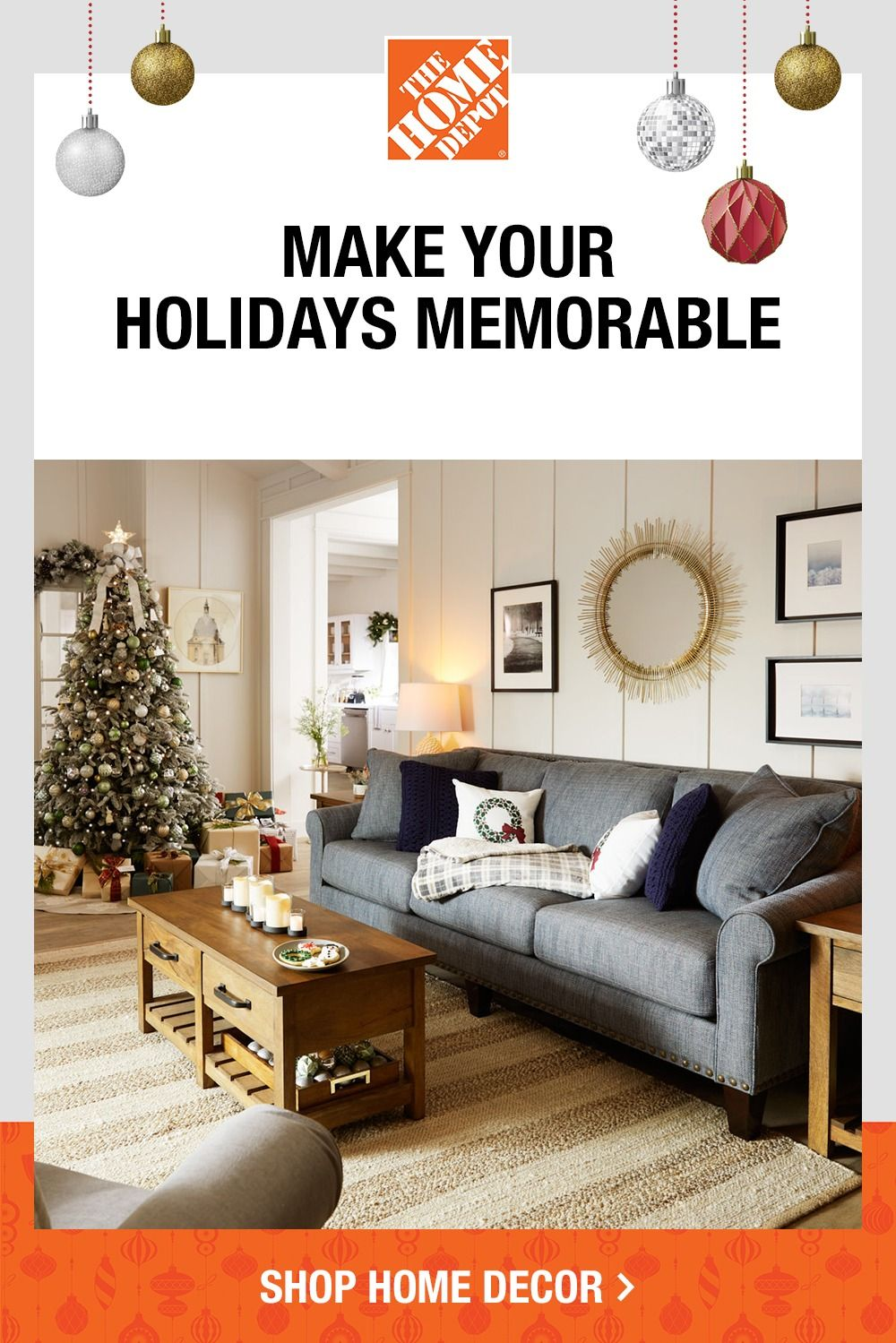 Make Holiday Memories In The Perfect Space With Furniture And Decor Online At The Home Depot Holiday Living Room Home Home Decor