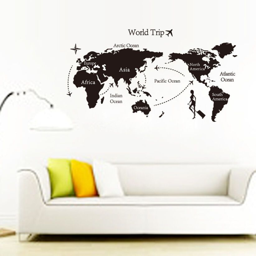 World map removable travel vinyl art wall sticker room decal mural world map removable travel vinyl art wall sticker room decal mural home decor 709 gumiabroncs Images
