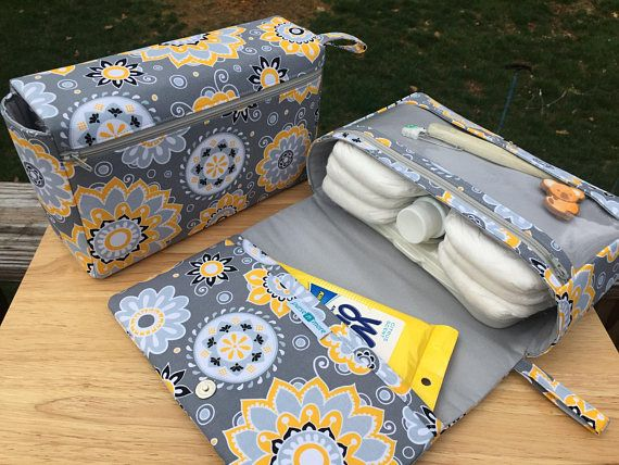 Flower medallions diaper bag, nappy bag organizer, yellow and grey diaper clutch, baby shower gift for new parents