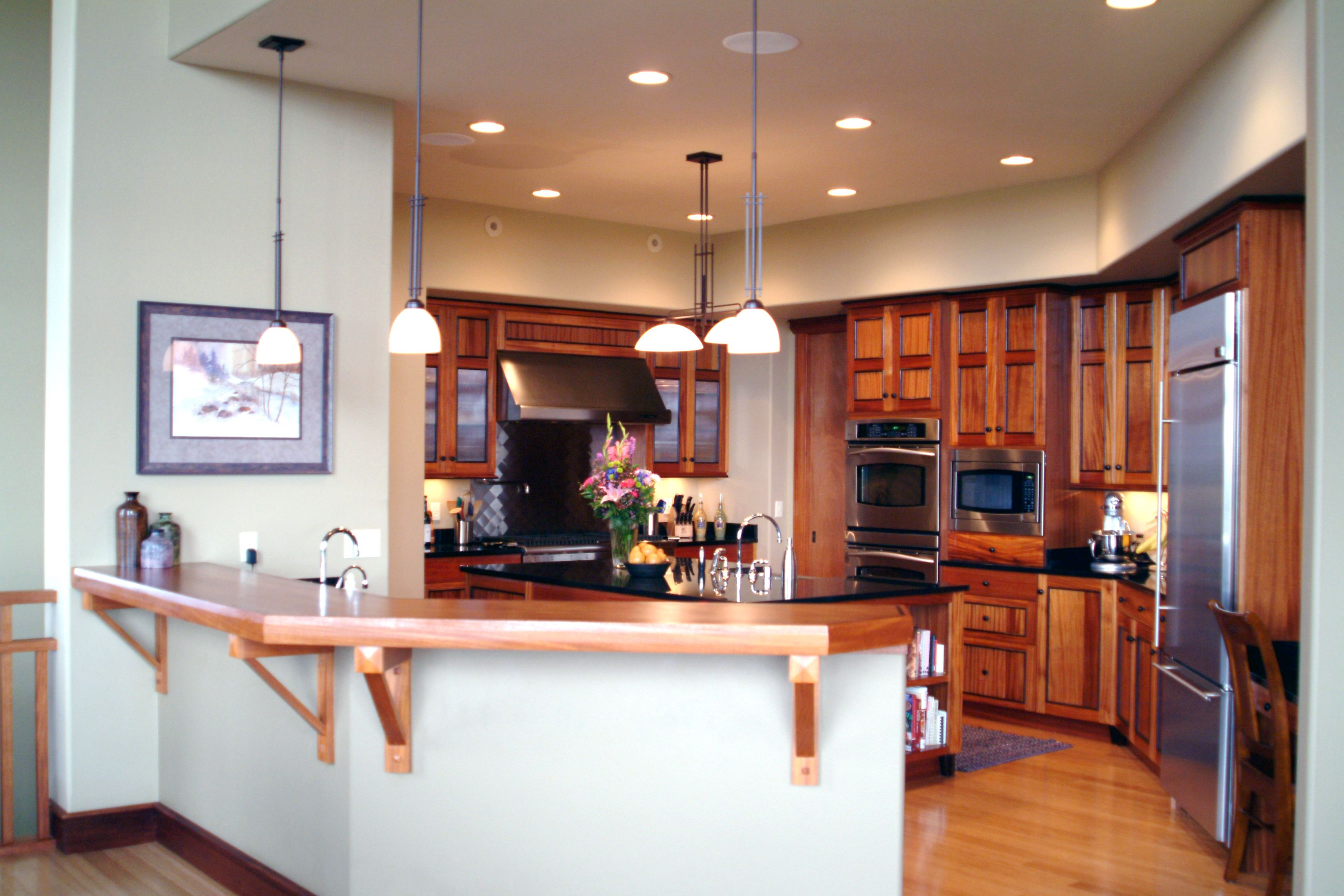 Craftsman style kitchen with African Mahogany wood with ...