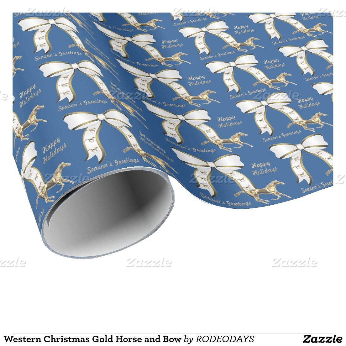 Western Christmas Gold Horse and Bow Wrapping Paper | WESTERN ...