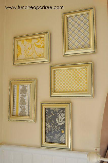 Yellow & Gray Nursery tutorials: Scrapbook paper framed art ...
