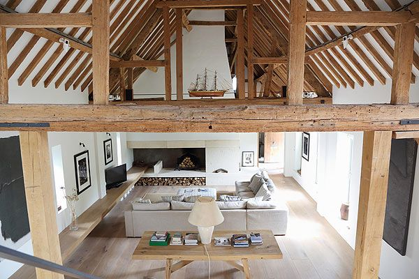 Living rooms  Barn conversion in Oxfordshire contemporary white space,  double height ceiling exposed timber