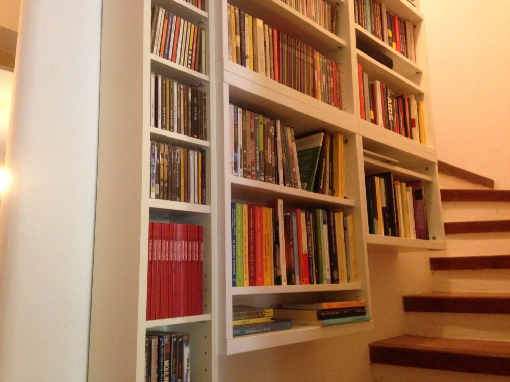 ikea benno and besta floating shelves on stairs