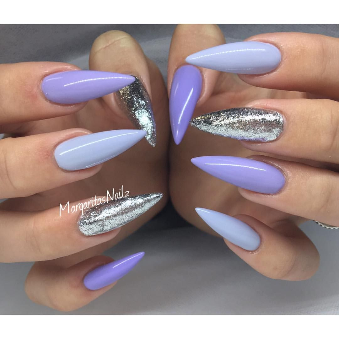 Glitter Nail Ideas For Summer: Purple And Silver Stiletto Nails Spring/summer Nail Art