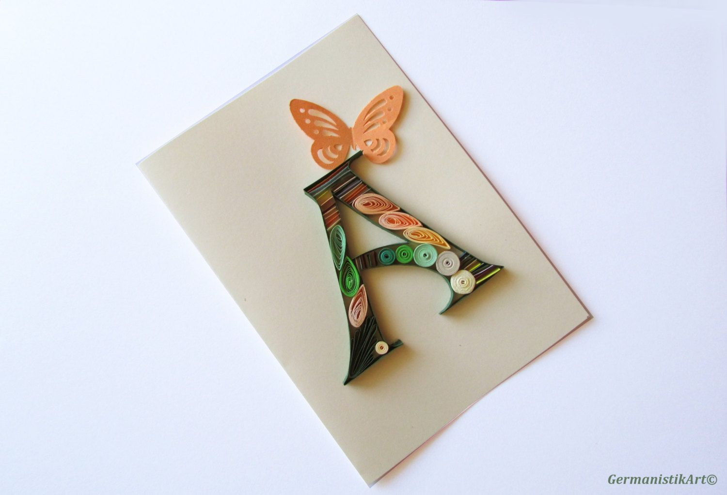 A Initial Letter Card Personalized Quilled Greeting Card A