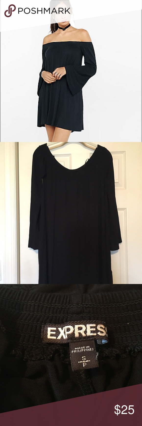 Worn once! Express bell sleeve off shoulder dress! Excellent condition, worn once! Express bell sleeve boho off the shoulder dress. 96% rayon, 4% spandex. Express Dresses Midi