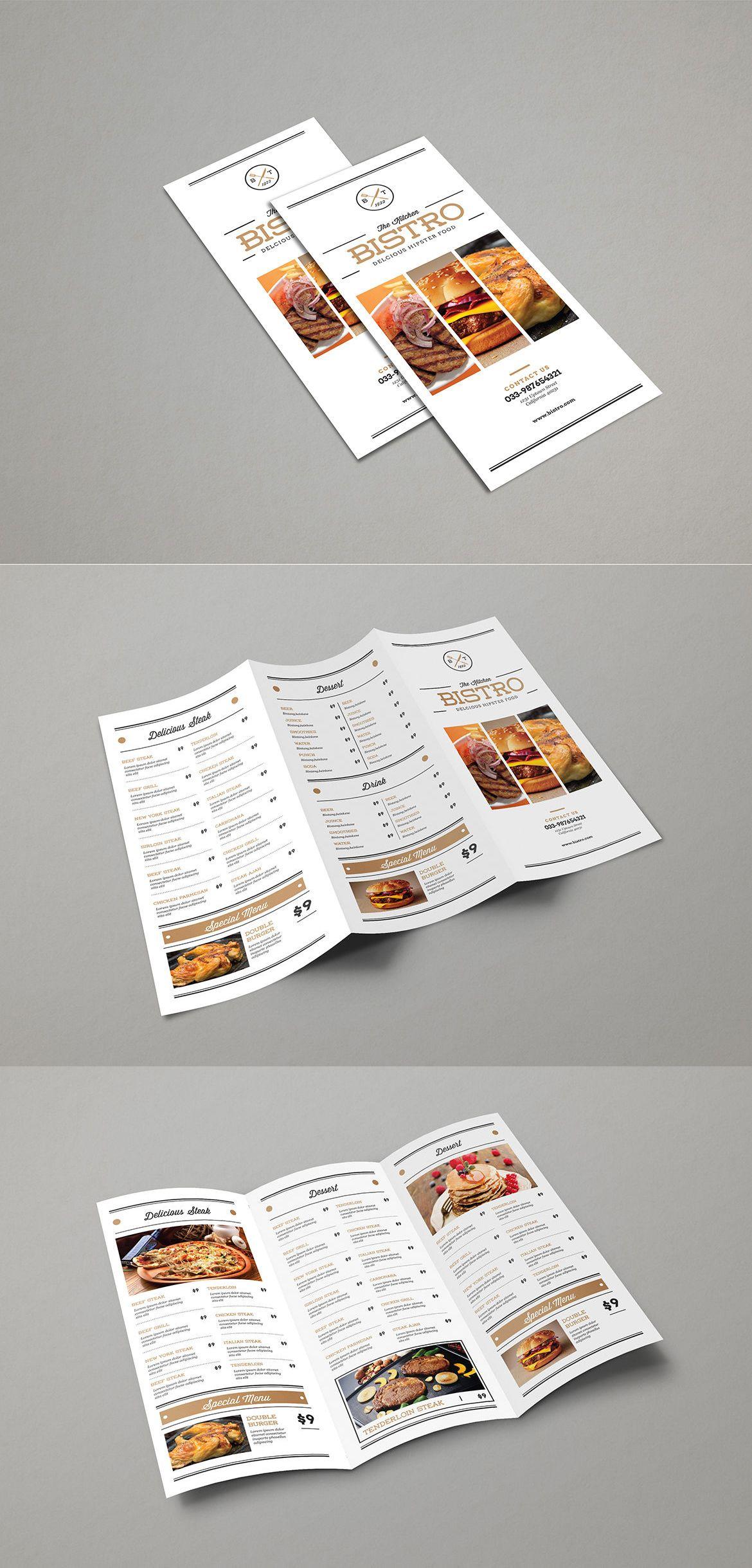 simple elegant trifold food menu template ai psd best food menu
