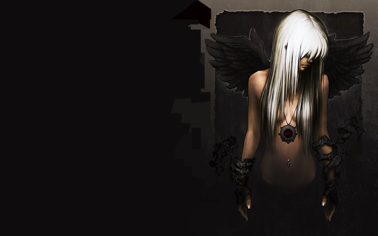 dark anime wallpaper | women piercings anime dark angels 1280x800px
