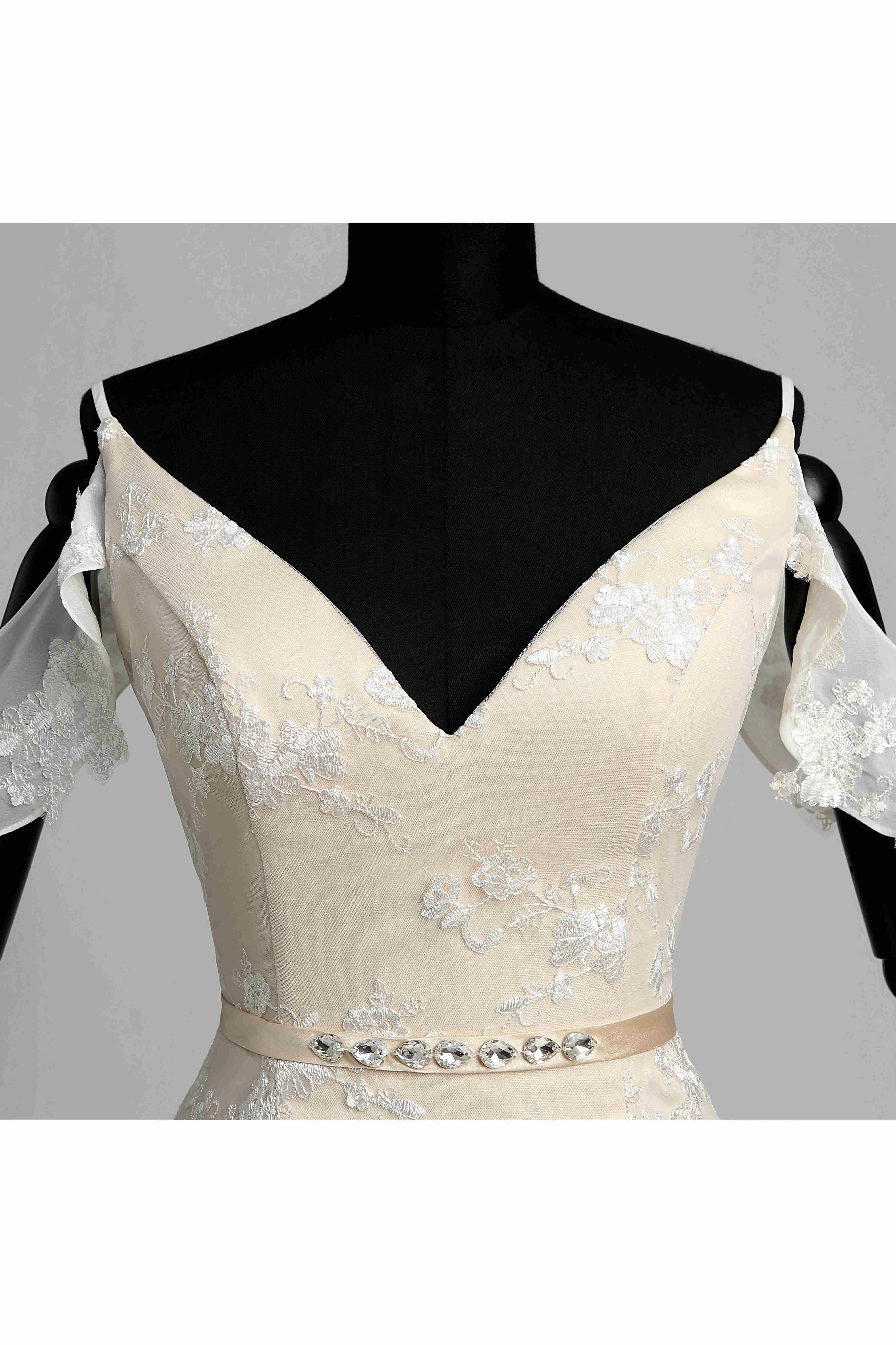 Mermaid trumpet celebrity tshirt short sleeve wedding dress