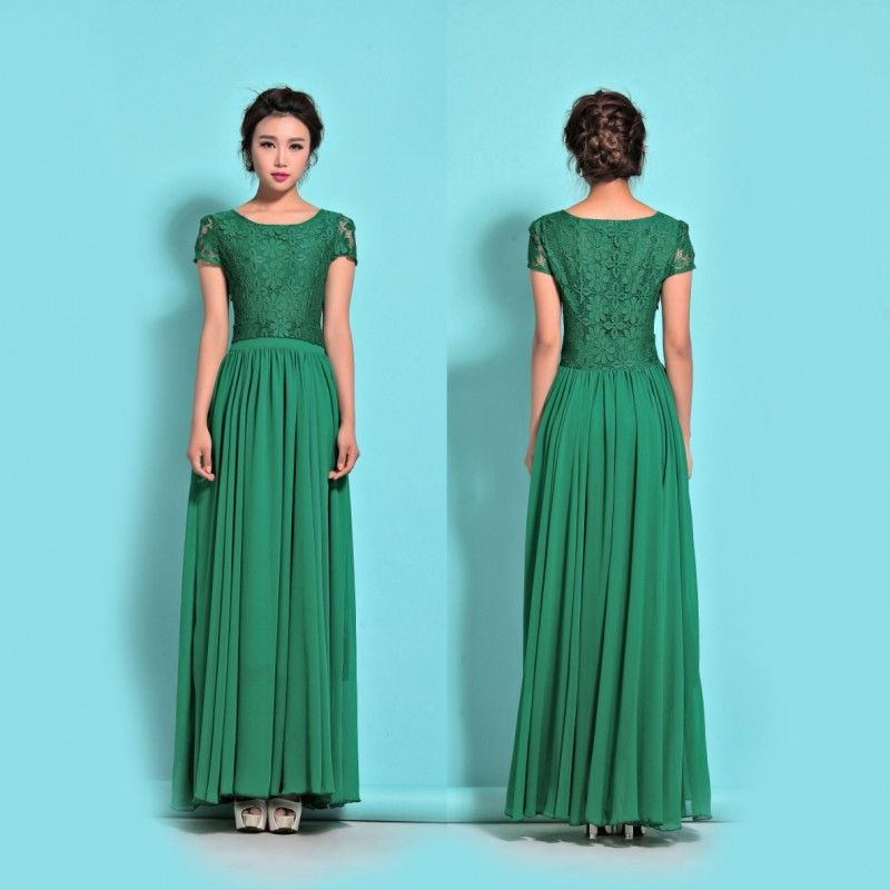 Chiffon and lace maxi dress