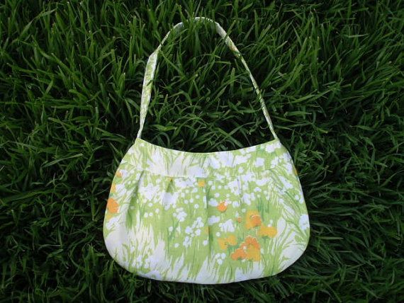 Vintage sheet Buttercup Bag  green white by SleepingOrSewing