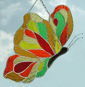 Stained Glass Butterfly Sun Catcher Window Art Colorful