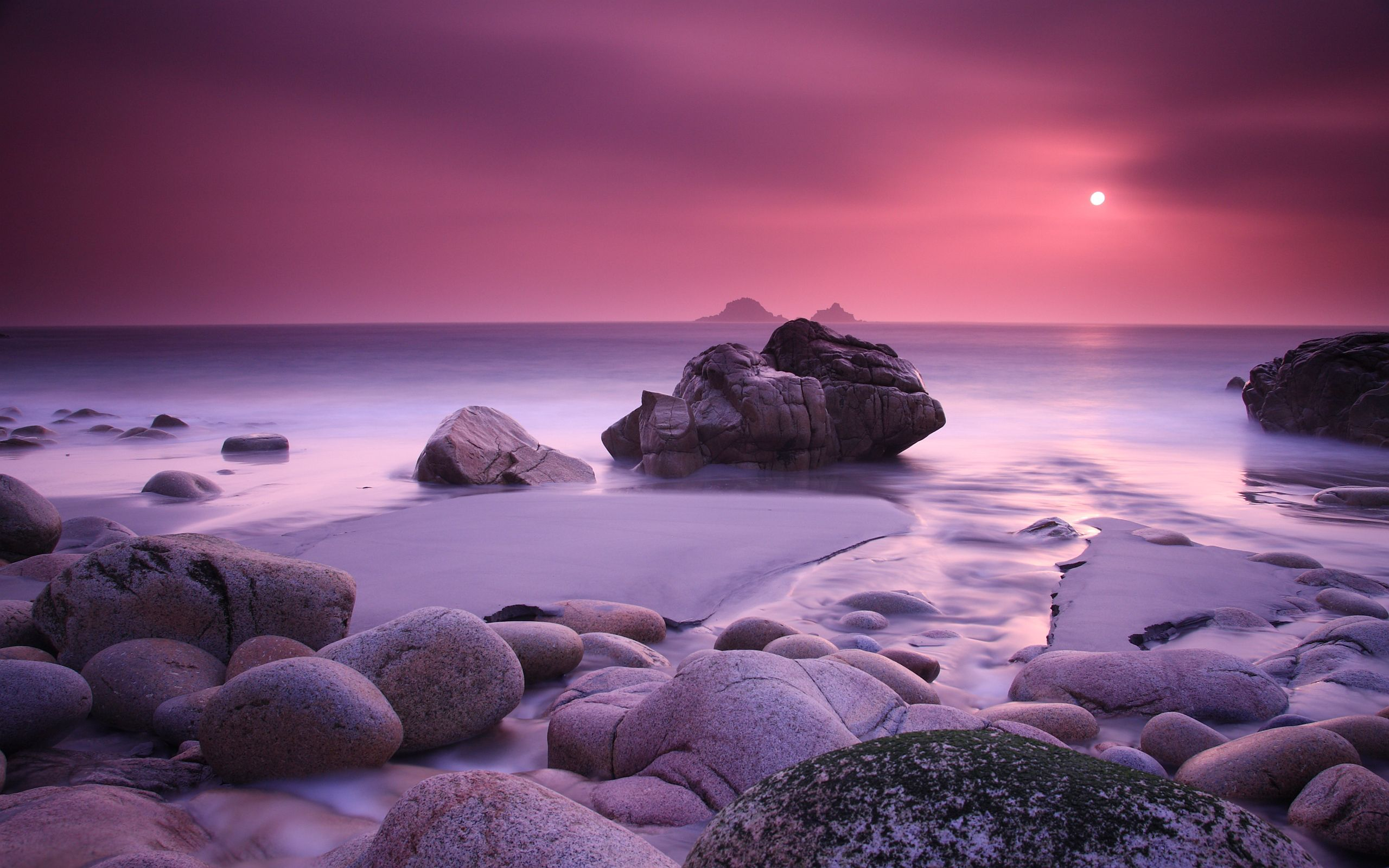 Pink Beach Sunset Pink Sunset Coast Wallpapers Pictures Photos