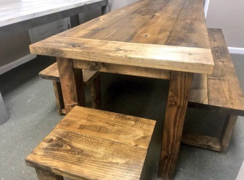 Long Narrow Rustic Farmhouse Table with Benches and End