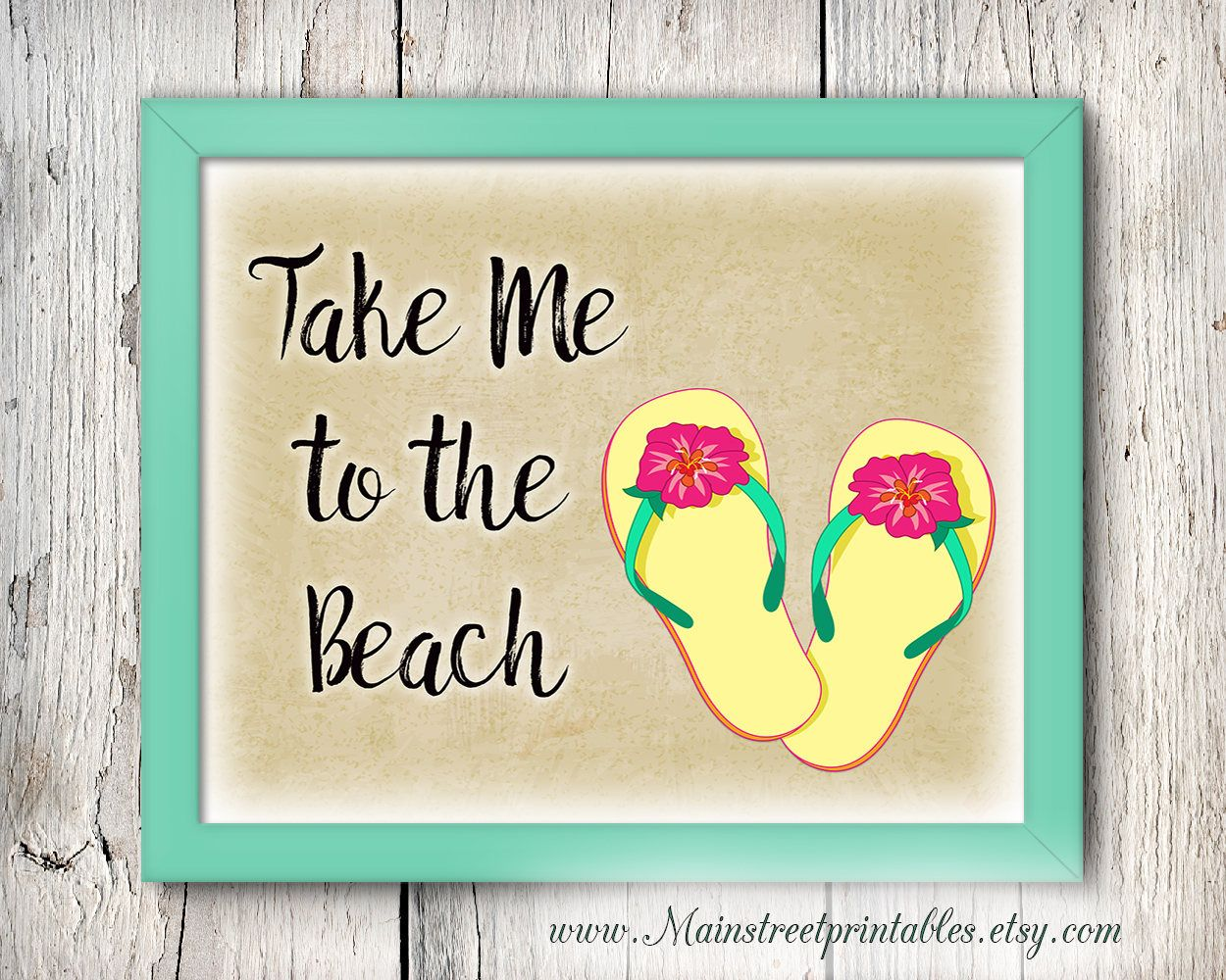 Beach Art, Take Me to the Beach Print, Flip Flops, Girly Wall Art ...