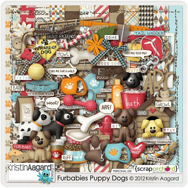 Fur Babies Puppy Dogs is a happy and fun dog and pet themed digital scrapbook kit by Kristin Aagard. Use this kit to scrap your photos of your own sweet puppy dog for cute pages and projects! Kit includes 12 patterned textured papers, uppercase alpha, over 70 unique elements and 37 word strip labels. Also included, 11 solid papers,%...