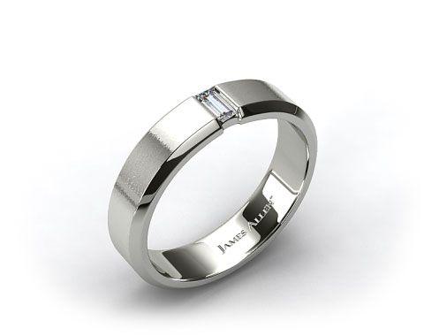 mens diamond wedding rings 18k white gold 7mm mens diamond wedding ring 16022w - Mens White Gold Wedding Ring