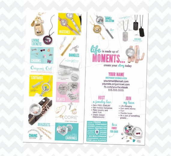 Origami Owl rack card.  New watch and fall items. Personalized.
