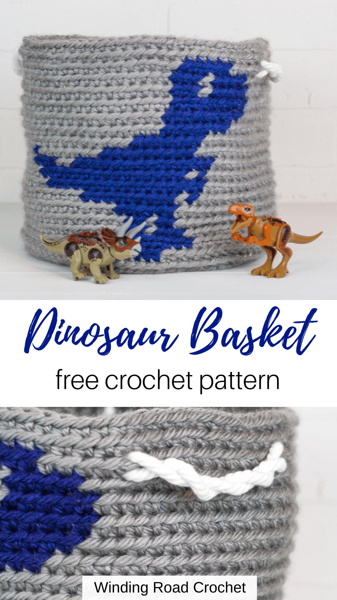 Crochet Dinosaur Basket: Raptor - Winding Road Crochet