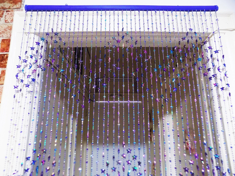 Shining Blue Moon Star Handmade Ball Curtain 6 F W Plastic Hanging Rod Acrylic Beads Door Beaded Curtains Hanging Door Beads Room Screen Hanging Door Beads Door Beads Beaded Curtains
