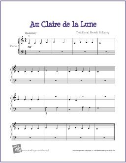 Au Clair De La Lune With Images Piano Sheet Music Sheet Music