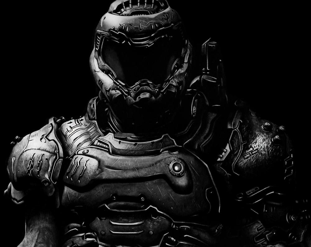 Doom Slayer Pixel Art White Helmet Google Search
