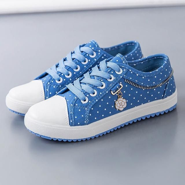 f14f196fdd9 Breathable Canvas Polka Dot Sneakers in 2019
