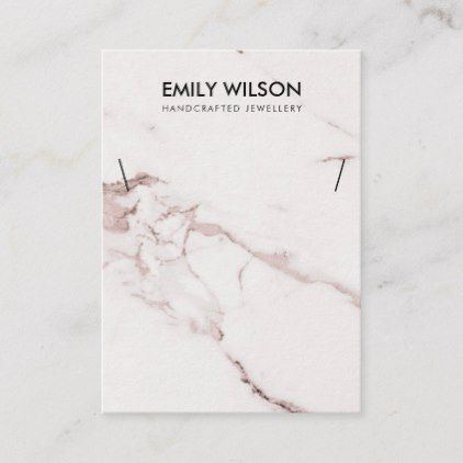WHITE BLUSH PINK MARBLE TEXTURE NECKLACE DISPLAY BUSINESS CARD | Zazzle.com #marbletexture