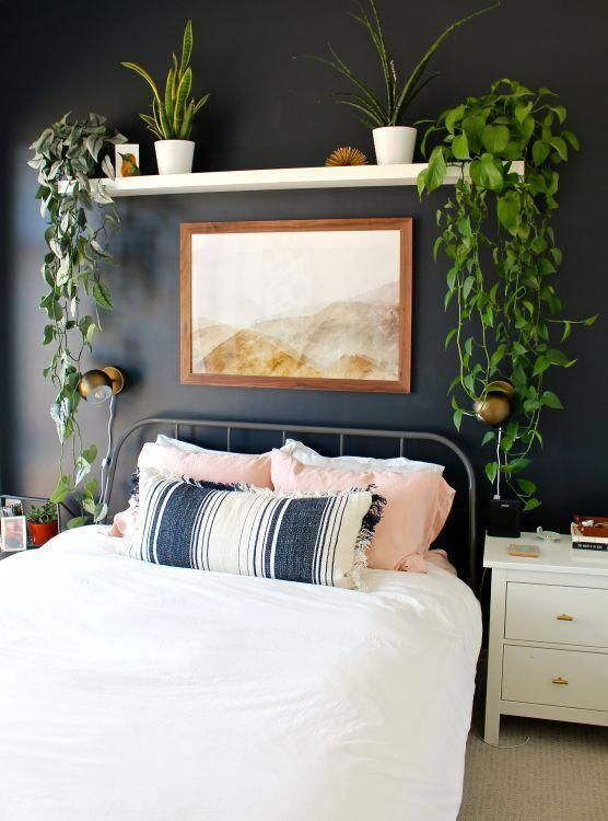 Bedroom decor: simple accent wall, black paint, shelf plants and art. Are you looking for unique and beautiful art photos or posters (not the ones featured in this pin) to create your own gallery walls? Visit bx3foto.etsy.com and follow us on Instagram @bx3foto #decor #decorate #interiordesign #gallerywall #artwall #photowall #photoprints #artphotos #photography #fineprints #posters #photosale #etsy #etsysale #etsyphotos #photographylover #travelphotos #tr #homedecorapartment
