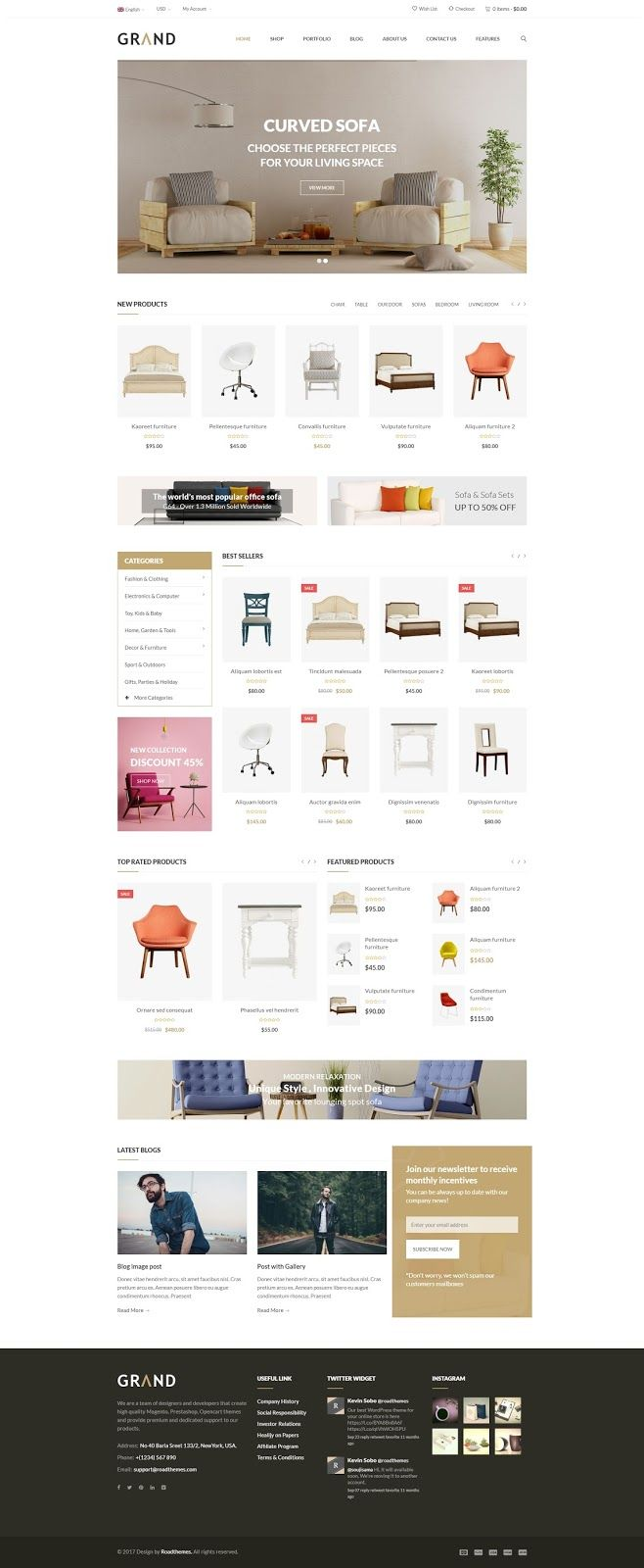 Grand Furniture Responsive WordPress Woocommerce Theme Themes Plugin Blogger Business Card